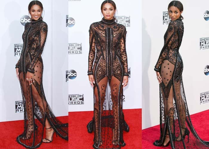 Ciara wears a sheer Reem Acra dress on the red carpet of the AMAs