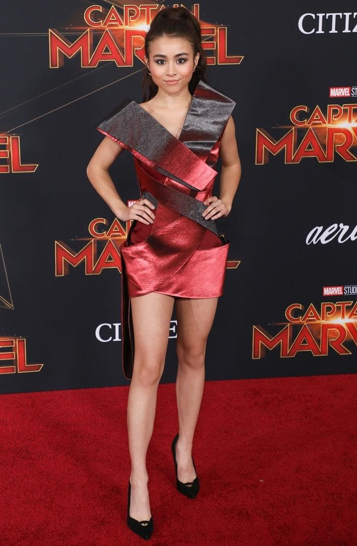 "Ciara Riley Wilson flaunts her legs at the Marvel Studios ""Captain Marvel"""