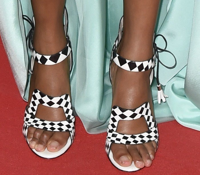 Corinne Bailey Rae wearing Sophia Webster Poppy checked leather sandals