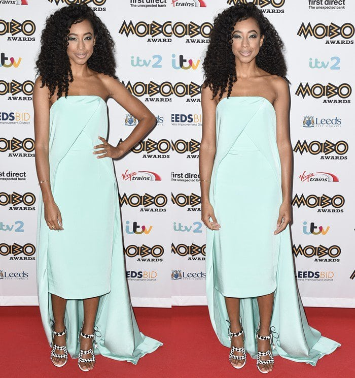 Corinne Bailey Rae donned an aqua column dress from the Christian Siriano Spring 2016 collection