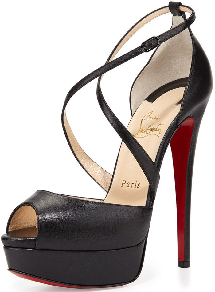 Christian Louboutin Cross Me Platform Sandals Black