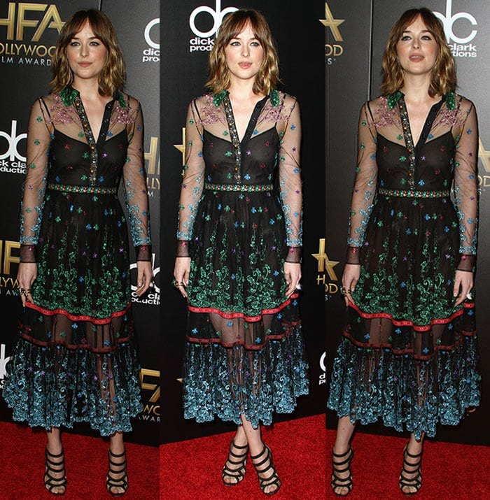 Dakota-Johnson-Gucci-See-Through-Sheer-Dress-Colorful-Embroidery-1