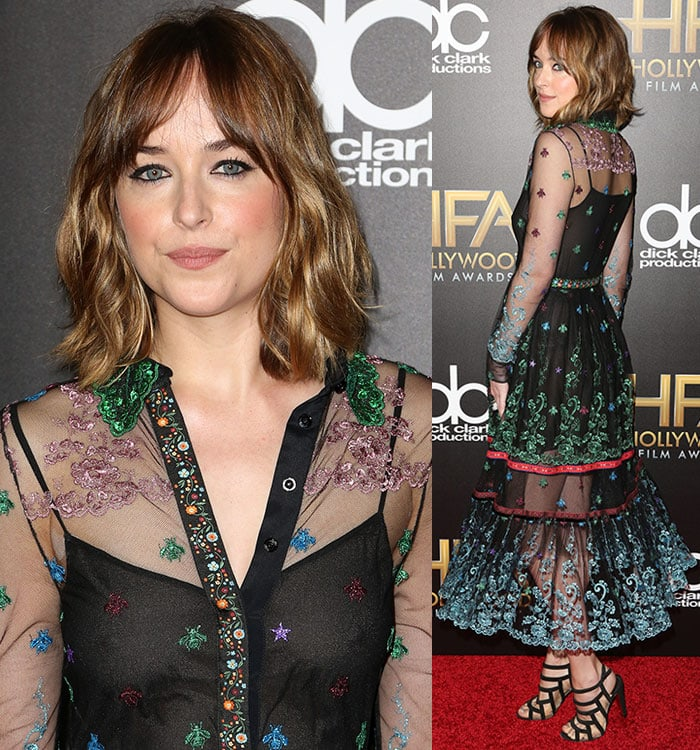 Dakota-Johnson-Gucci-See-Through-Sheer-Dress-Colorful-Embroidery