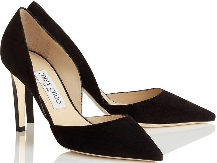 Darylin Black Suede Pointy Toe Pumps