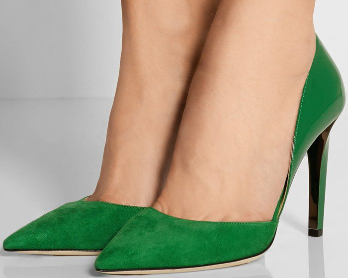 Darylin Kew Suede and Patent Pointy Toe Pump