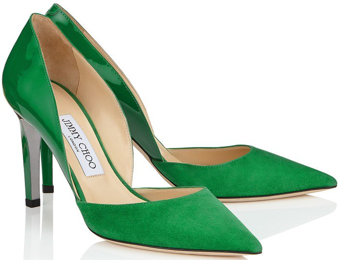 Darylin Kew Suede and Patent Pointy Toe Pumps