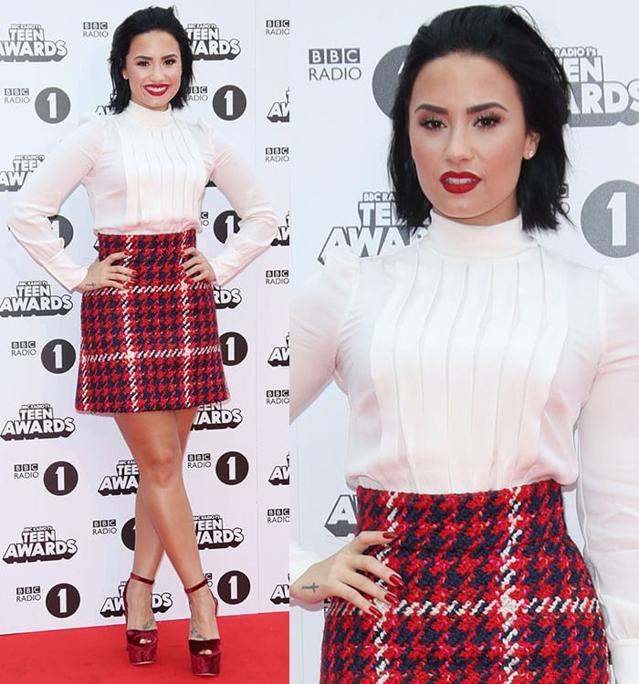 Demi Lovato styled her chunky heels with a cotton-blend bouclé-tweed mini skirt