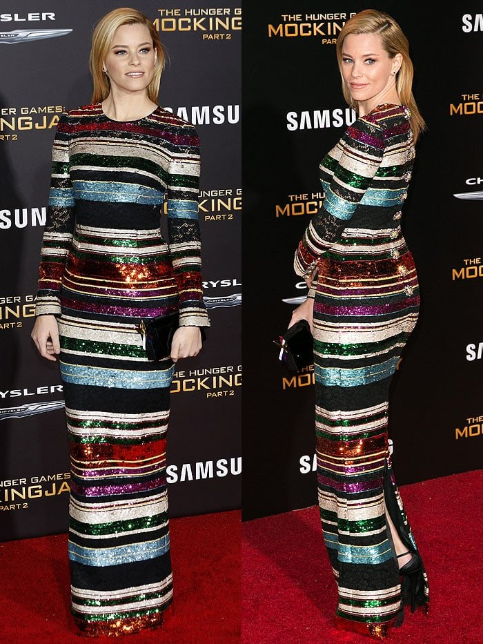 Elizabeth Banks modeling the front and the jewel-buttoned back of her Dolce & Gabbana striped sequin-and-lace long-sleeve gown