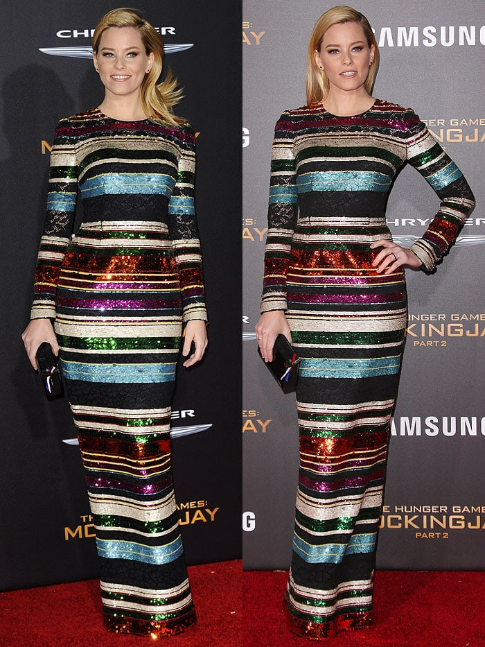 "Elizabeth Banks working her magic on ""The Hunger Games: Mockingjay - Part 2"" red carpet"