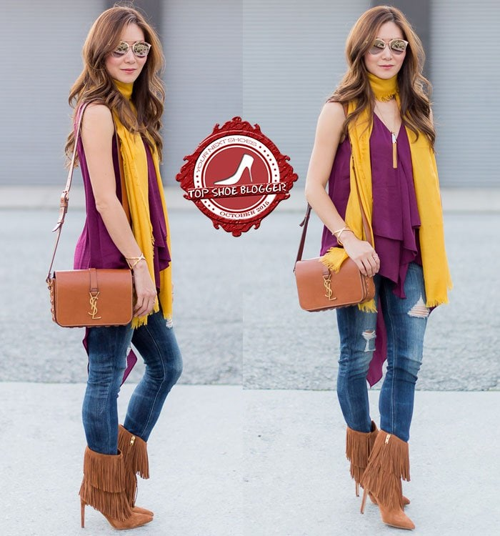 Elizabeth styled jeans with fringe boots, a wine-colored top, and a yellow scarf