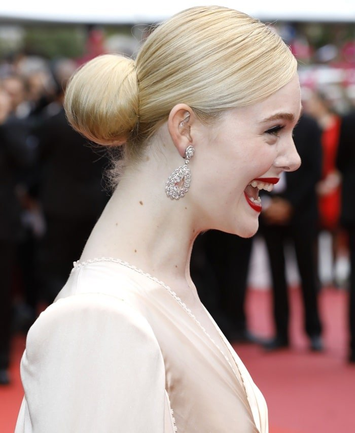 Elle Fanning accessorized with jewels from Chopard at the 2019 Cannes Film Festival opening ceremony