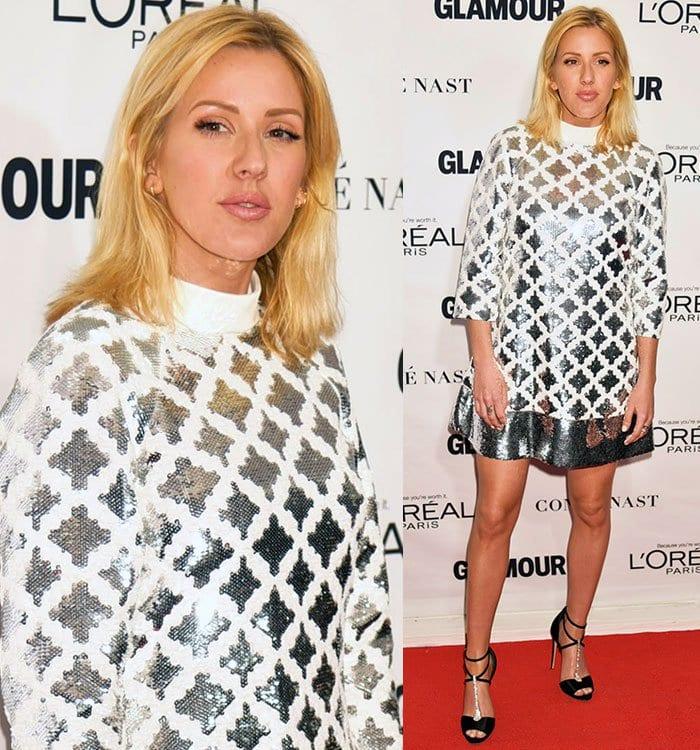 Ellie-Goulding-Emanuel-Ungaro-glittery-white-silver-mini-dress
