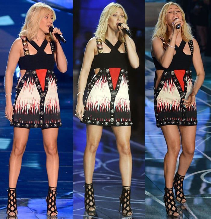 Ellie Goulding looks colorful and edgy as she performs in a Fausto Puglisi minidress