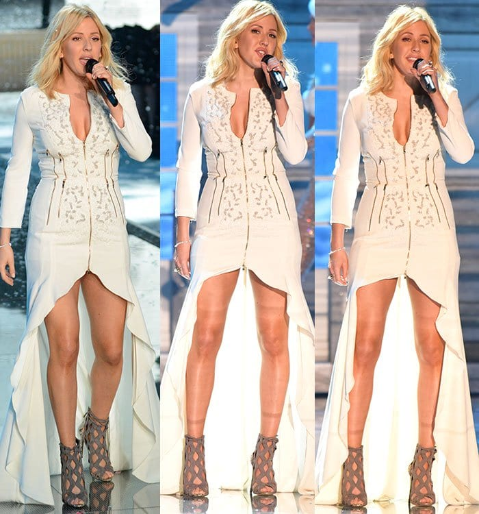 Ellie Goulding performs in a Fausto Puglisi dress