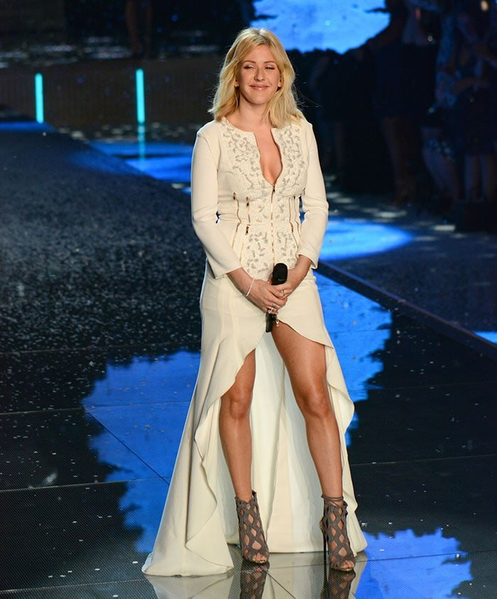 Ellie Goulding continues to flaunt her legs and cleavage while performing during the Victoria's Secret Fashion Show