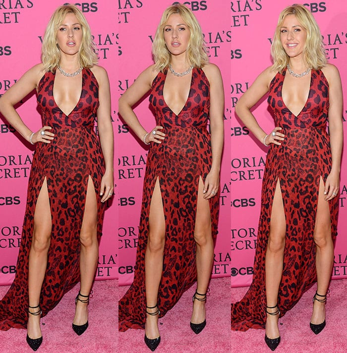Ellie Goulding flaunts her legs and cleavage in a red animal-print gown