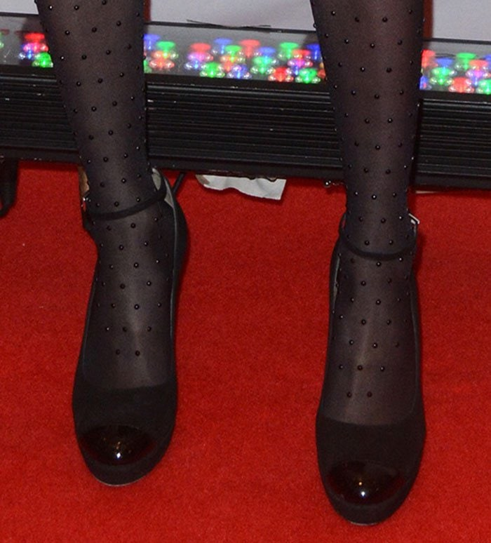 Emma Roberts' feet in Wolford stockings and L.K. Bennett pumps