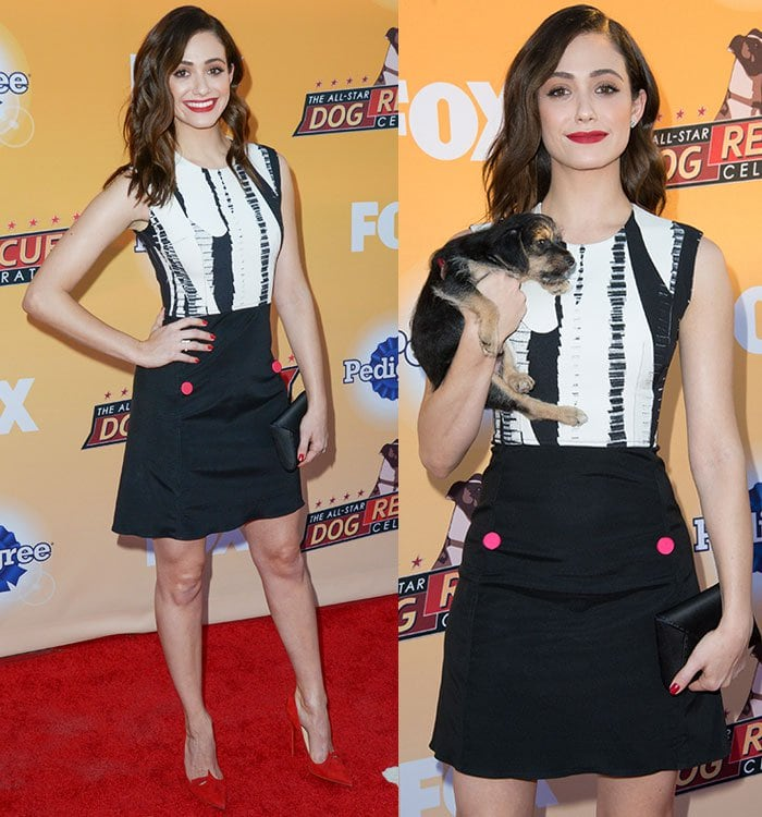 Emmy Rossum happily gets dog fur on her monochrome outfit