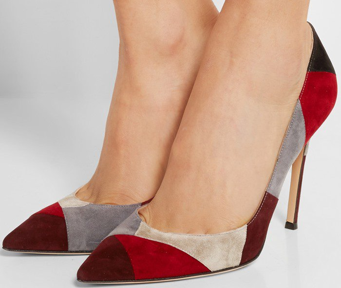 Gianvito Rossi 100 suede pumps patchwork