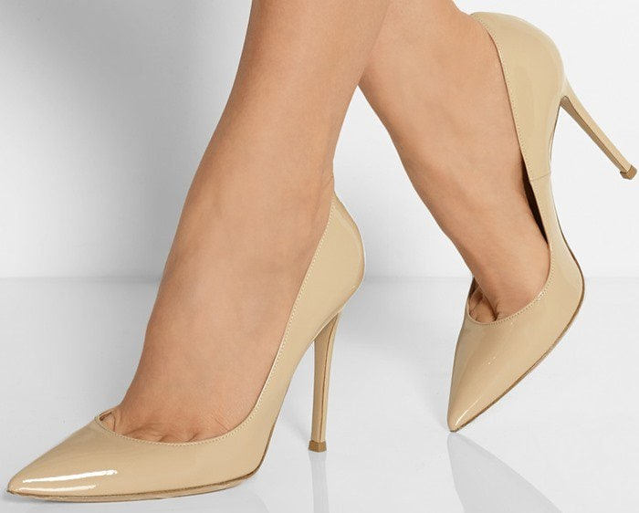 Gianvito Rossi 100 suede pumps patent leather