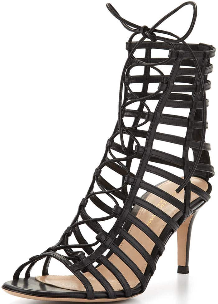 Gianvito Rossi Caged Leather Lace-Up Sandal in Black