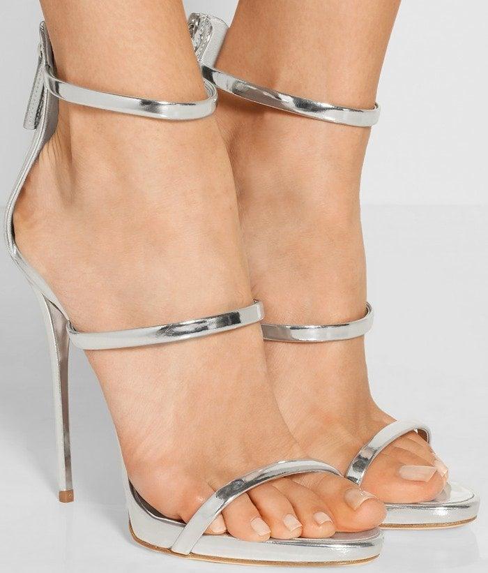 Giuseppe Zanotti Metallic leather sandals Silver