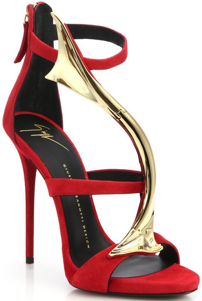 Giuseppe Zanotti Red Suede & Goldtone Overlay Sandals