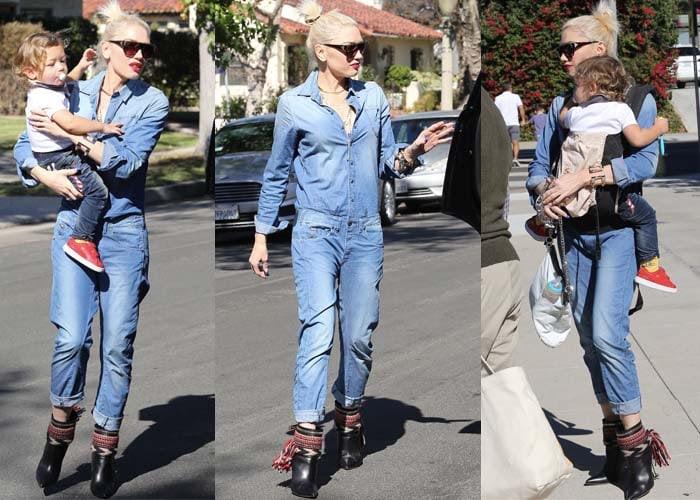 Gwen Stefani rocked a denim jumpsuit from Dutch designer clothing company G-Star RAW