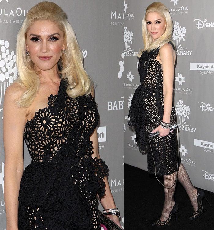 Gwen Stefani shows off the laser-cut detailing of her black Marchesa dress