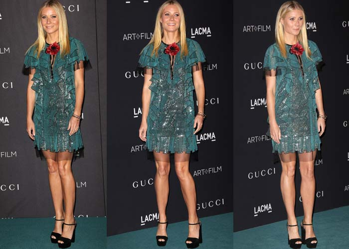 Gwyneth in beaded teal mini dress and ankle strap platform heels