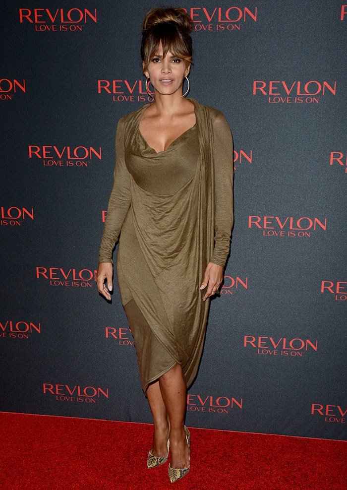 "Halle Berry posed on the red carpet at Revlon's ""Love Is On"" Million Dollar Challenge in New York City"