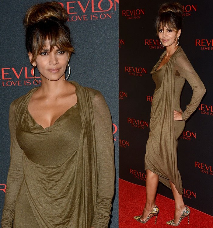 Halle Berry styled her hair in an elegant updo with fringe that covered her eyebrows, and sported neutral makeup that highlighted her facial features