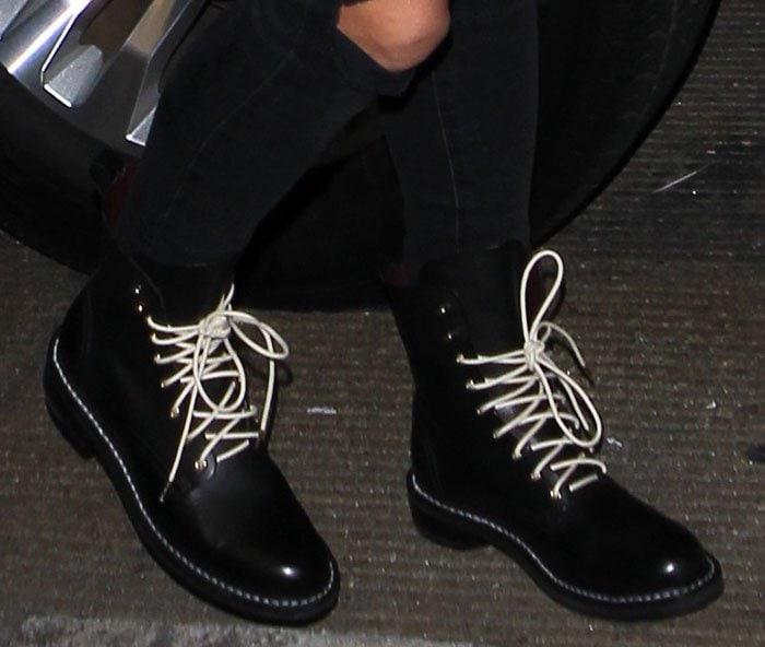 white lace combat boots