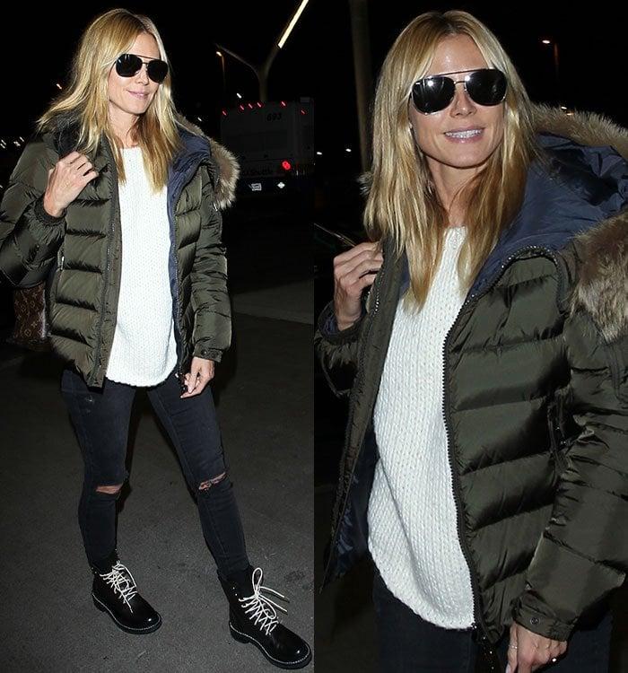 Heidi-Klum-white-knit-sweater-ripped-jeans-parka-jacket