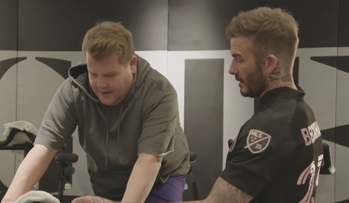 David Beckham takes his close friend James Corden to AARMY's Los Angeles Spin studio