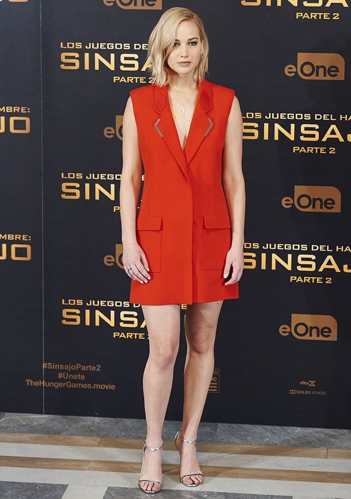 Jennifer Lawrence went braless in a sleeveless tuxedo mini dress from Mugler's spring 2016 collection