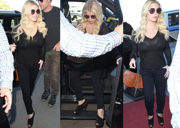 Jessica Simpson wears a dark pair of sunglasses and an all-black ensemble at LAX