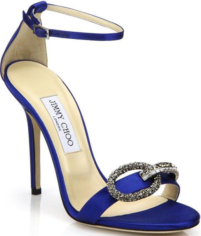 Jimmy Choo Tamsyn Crystal-Buckle Sandals Blue