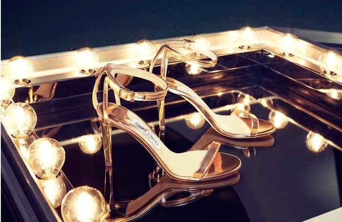 """Jimmy Choo """"Daisy"""" Champagne Mirror Leather Sandals"""