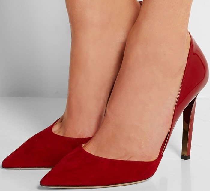 Jimmy Choo Darylin patent-leather and suede pumps