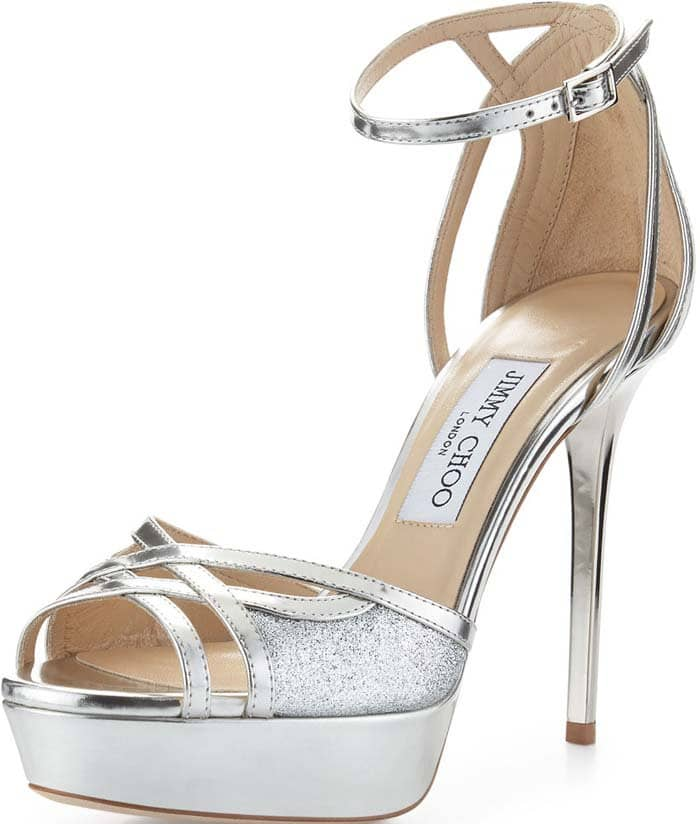 "Jimmy Choo ""Laurita"" Metallic Glitter 115mm Sandal in Silver"