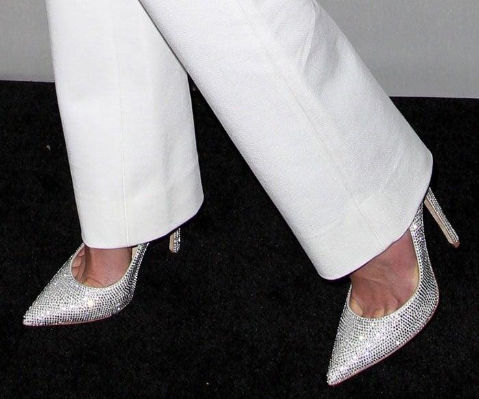 Jordana Brewster's feet in Jimmy Choo pumps