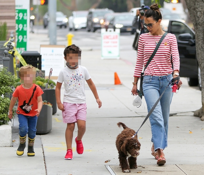 Jordana Brewster takes her dog and two boys out for a walk in Los Angeles