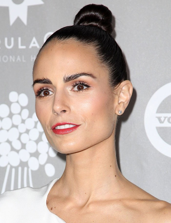 Jordana Brewster wears her hair up at the 2015 Baby2Baby Gala