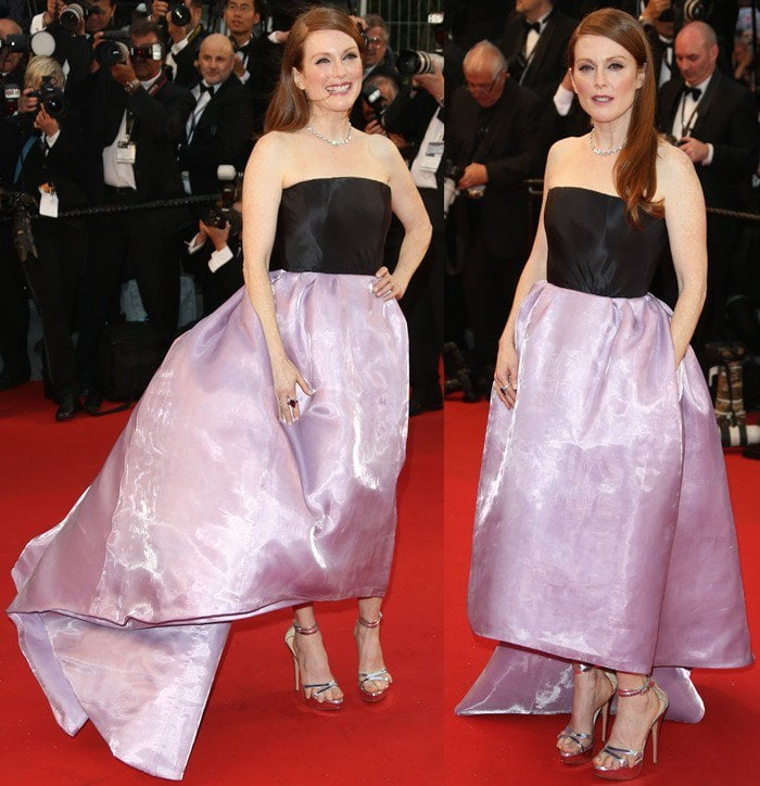 Julianne Moore wearing a strapless Christian Dior Couture organza gown at the Opening Ceremony of the 66th Cannes Film Festival in Cannes, France on May 15, 2013