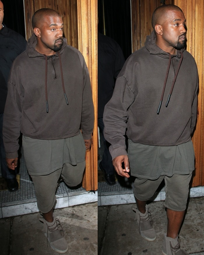Kanye West arrived at Kendall Jenner's 20th birthday party