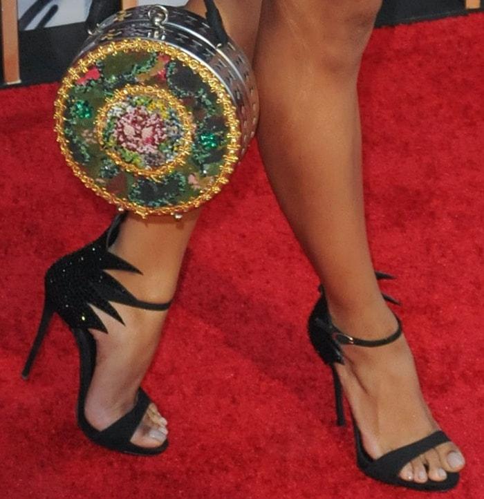 Kat Graham's feet in Giuseppe Zanotti sandals