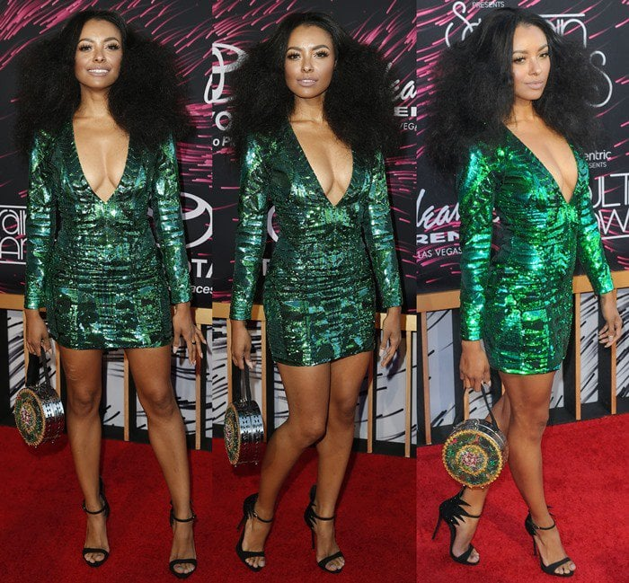 Kat Graham sparkles in a sequined Balmain x H&M dress