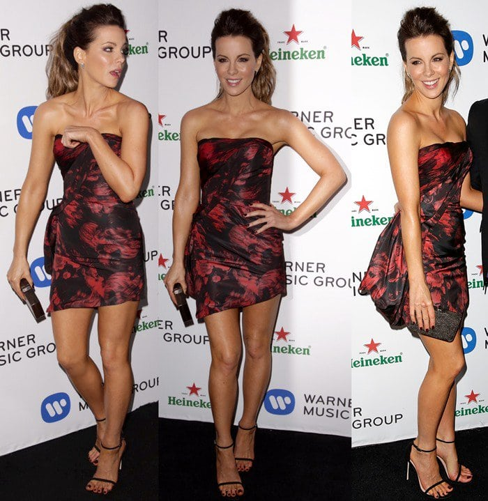 Kate Beckinsale at Warner Music Group's annual Grammy celebration at Sunset Tower Hotel in Los Angeles on January 26, 2014