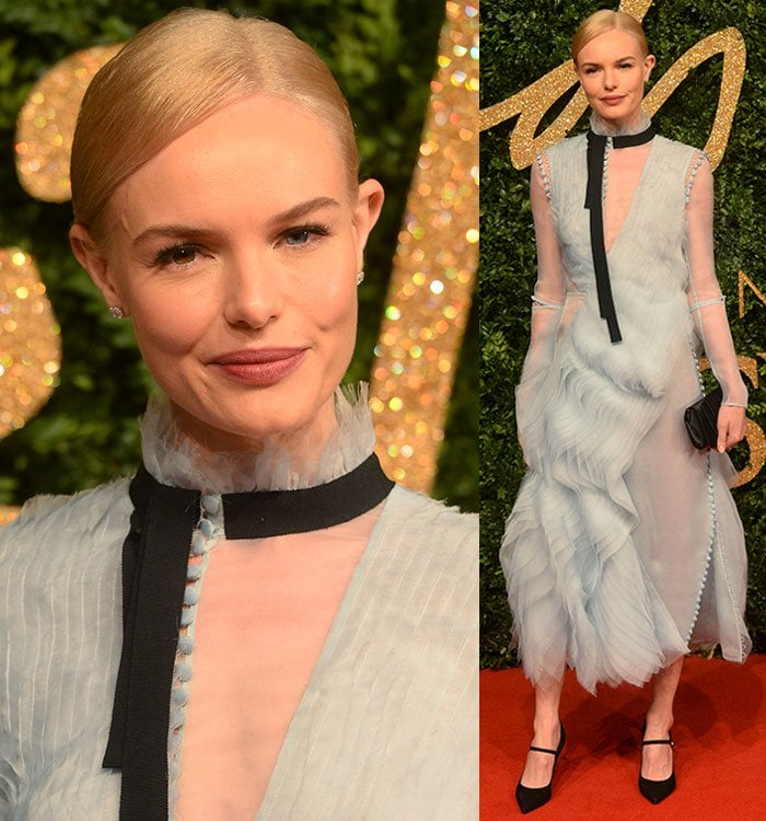 Kate Bosworth wears her blonde hair back and keeps her makeup sweet and simple